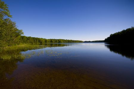 One of the 10,000 lakes of Minnesota in blue sky and water