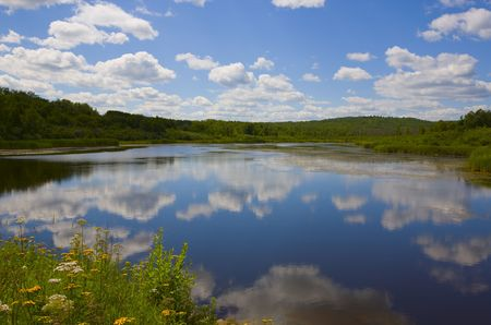 north woods: s and reflecting clouds in the north woods of Minnesota,