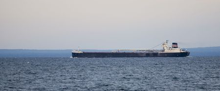 A large ore ship on the Great Lakes.