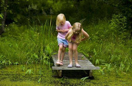 Sisters exploring a small pond in the north woods of Minnesota Stock Photo - 3527079