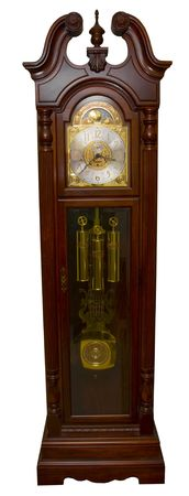 A grandfather clock isolated on a white background