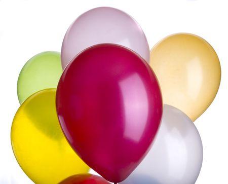 Balloons in a vibrant color closeup of seven