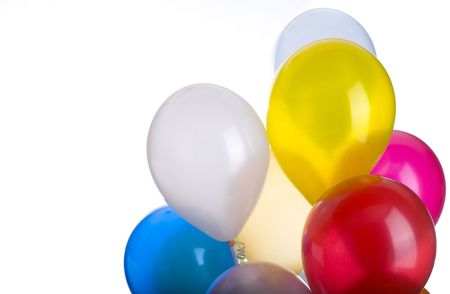 A ballon bunch with copy space isolated on white.