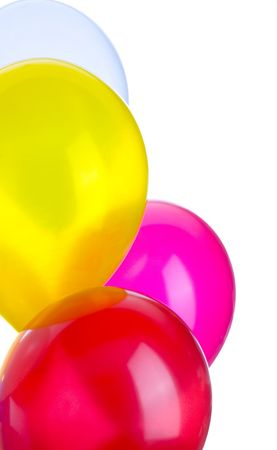 Four balloons in a vertical image with copy space. Stock Photo