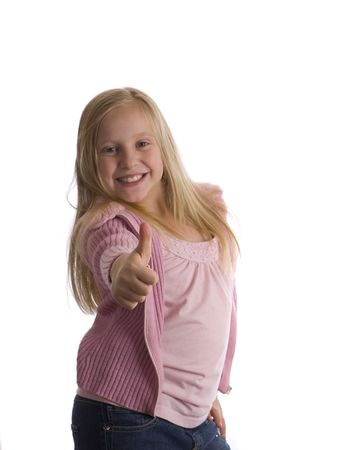 stupendous: A girl with a thumbs up in a pose