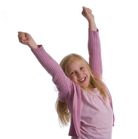 exultation: A girl in pink jumps for joy