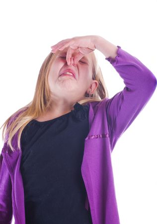 stinky smell with girl holding her nose and frowning Stock Photo - 3930325
