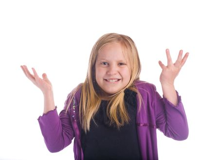 """disdain: Girl """"decir lo que"""" shrugging sus hombros Foto de archivo"""