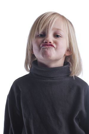 mope: Silly pouting blond child in black against a white background