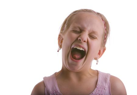 wail: Girl screaming on a white background