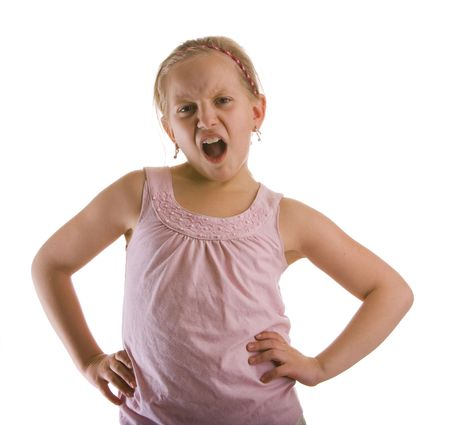 rebellious: Indignant girl expressing her feelings