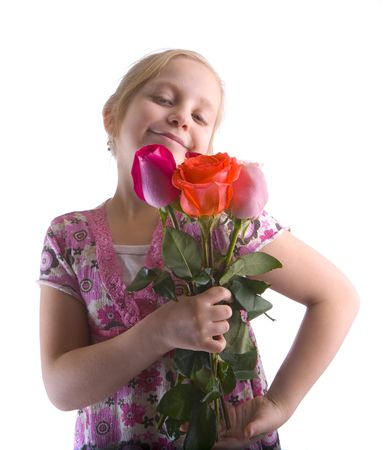 smug: Smug girl holding a group of roses on a white background Stock Photo