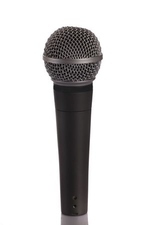 transducer: Microphone  ( dynamic mic ) isolated on a white background Stock Photo