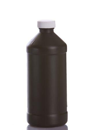Brown plastic bottle for chemicals, medicine, or other liquid on a white background Reklamní fotografie