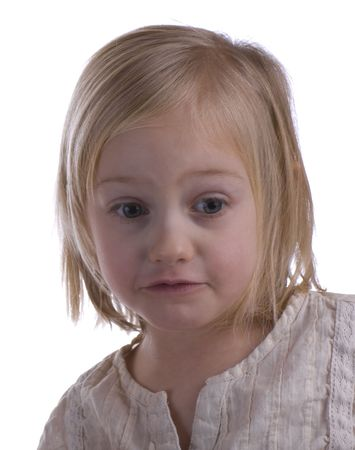 Concerned child portrait on a white background