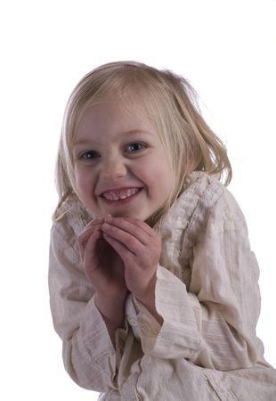 Mischievous child portrait on a white background Stock Photo - 4147759