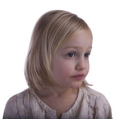 Sad child portrait on a white background Stock Photo - 4147736