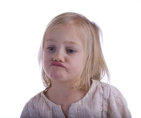 mope: Pouting child portrait on a white background Stock Photo