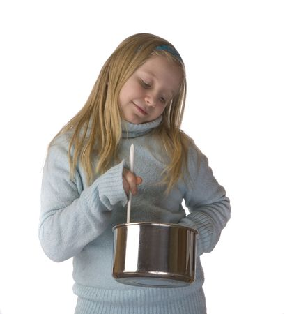stirring: Girl stirring and cooking isolated on a white background