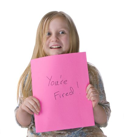 Girl youre fired pink slip on white background Stock Photo