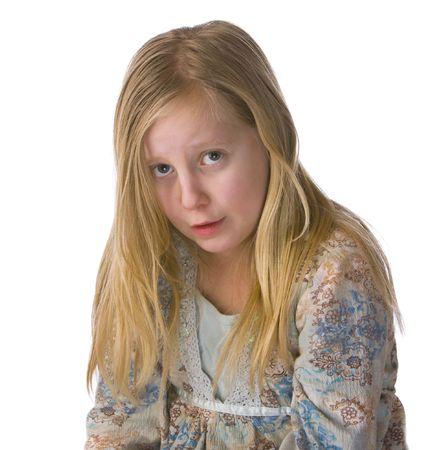 Sad girl crying on a white background Stock Photo - 4288497