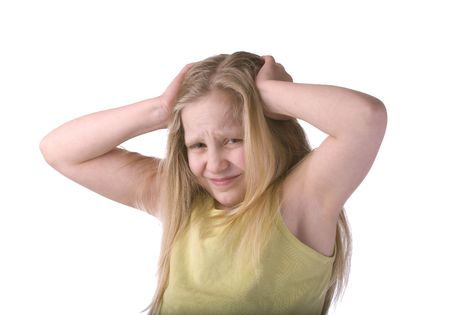 Girl Stressed Holding Head Isolated on White Background Imagens