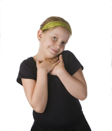 Flattered girl in black against a white background