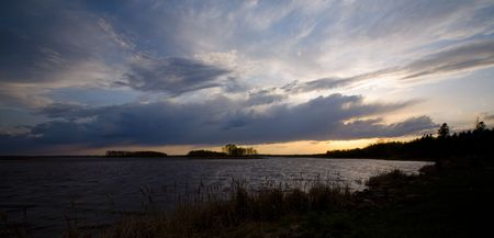 Wild Rice Lake sky with storm clouds in northern Minnesota