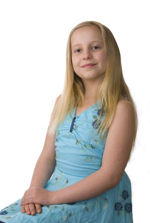 Portrait of girl in a blue dress on a white background