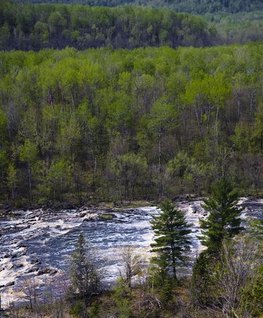 Minnesota spring impressionism in a play of light, color, and texture above the St. Louis river near Duluth