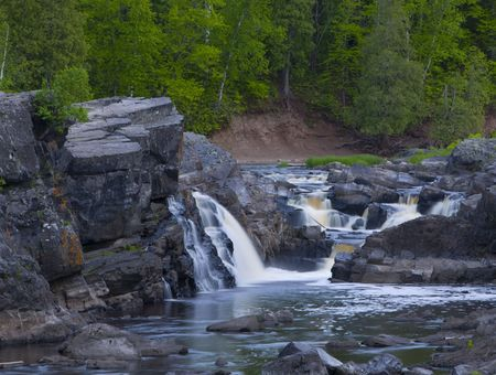 Forest, stone, falls, and rapids along the St. Louis River in Northern Minnesota
