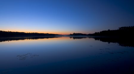 Reflection of the morning star at Fish Lake, Minnesota