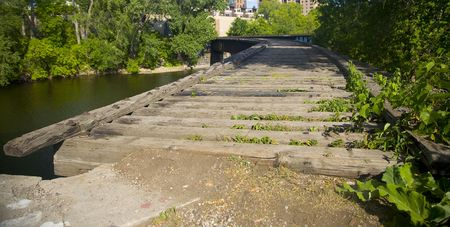 Old Railroad Bridge over a channel of the Mississippi River in Minneapolis
