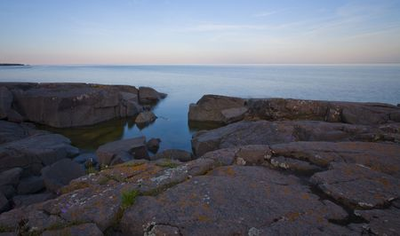 stoney point: Flowers and stillness on the rocks of Stoney Point along the North shore of Lake Superior in Minnesota Stock Photo
