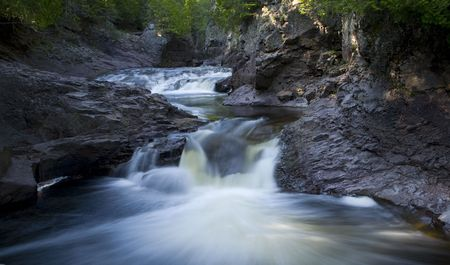 Cascade River rushing to Lake Superior in Northern Minnesota Stock Photo