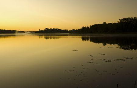 Golden Daybreak at Fish Lake Minnesota Stock Photo