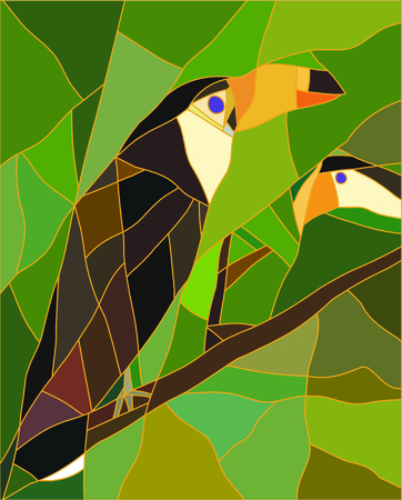 Stained glass of a toucan bird. Realistic style in color. Illustration