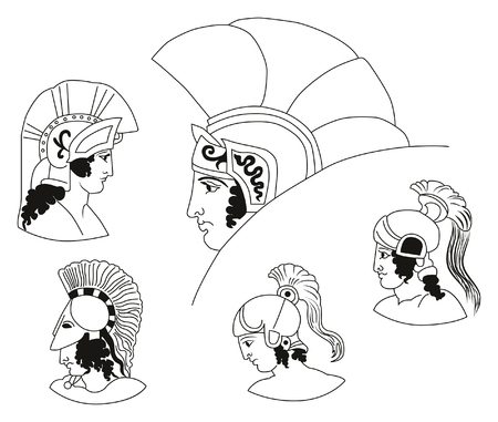 army face: Set of images of ancient Greek warriors heads.