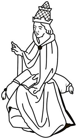 Black and white illustration of a Catholic pope Boniface VIII.