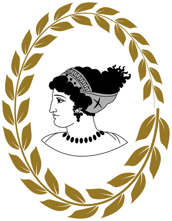 laureate: Hand drawn decorative with head of ancient Greek women.