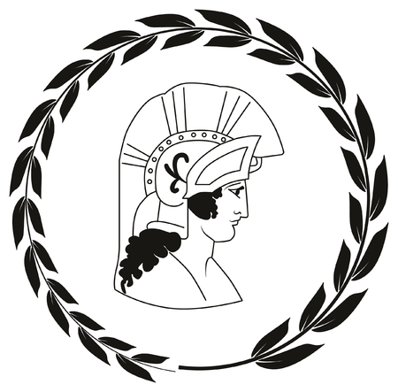 roman soldier: Hand drawn decorative with head of the ancient Greek warrior