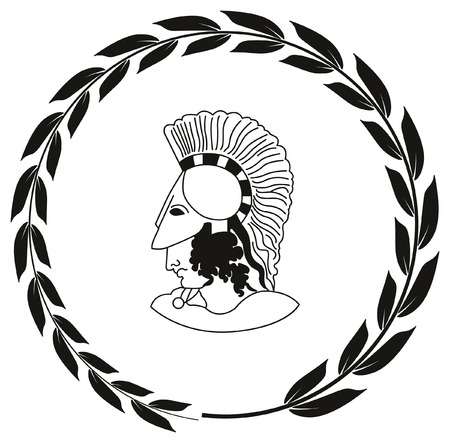 Hand drawn decorative with head of the ancient Greek warrior