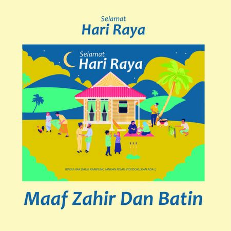 vector illustration of hari raya/balik kampung,making dodol,lemang,ketupat,hometown full design