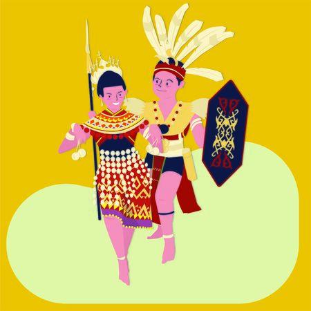 vector illustration of The gawai Dayak (hari gawai)festival:man and women dayak dance Ilustración de vector
