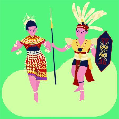 ガワイダヤック(ハリガワイ)フェスティバルのベクトルイラスト:男と女性のデイヤックダンス2