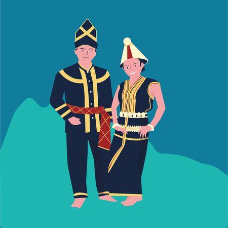 vector illustration of The KAAMATAN (hari kaamatan)festival:man and women KEDAZAN DUSUN dance (2) Ilustração Vetorial