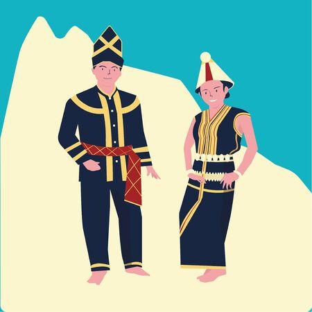 vector illustration of The KAAMATAN (hari kaamatan)festival:man and women KEDAZAN DUSUN dance