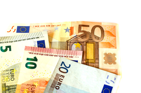 nominal: Bills nominal value of five euros EUR 5, ten euros EUR 10, twenty euros EUR 20 and fifty euros EUR 50 white background of banknotes