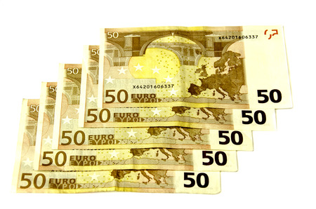 denomination: Denomination of EUR 50 laid out in a row. Stock Photo