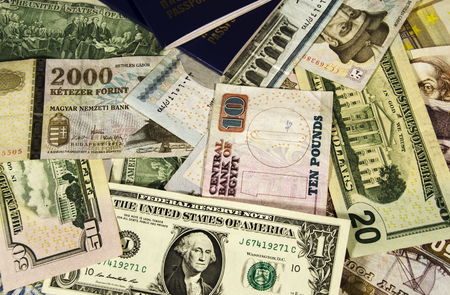 different countries: Money of different countries. Egypt, Hungary, USA, Europe.